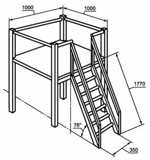 Рисунок платформы с лестницей по ГОСТ Р 52169 - 2012