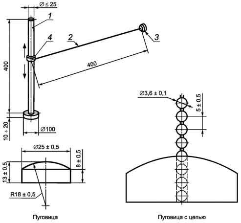 Испытательное устройство для испытаний застревания пуговицы ГОСТ Р 52169-2012