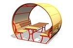 Стол со скамьями и навесом М2, эскиз