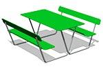 Стол уличный со скамьями М4, эскиз