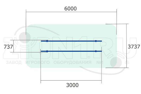 Брусья параллельные МО1300 для ГТО — вид сверху, эскиз