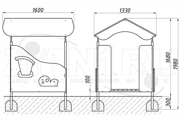 Схема монтажа детского игрового домика «Гном» эскиз