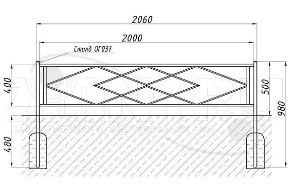 Схема монтажа газонного ограждения ОГ-13 эскиз