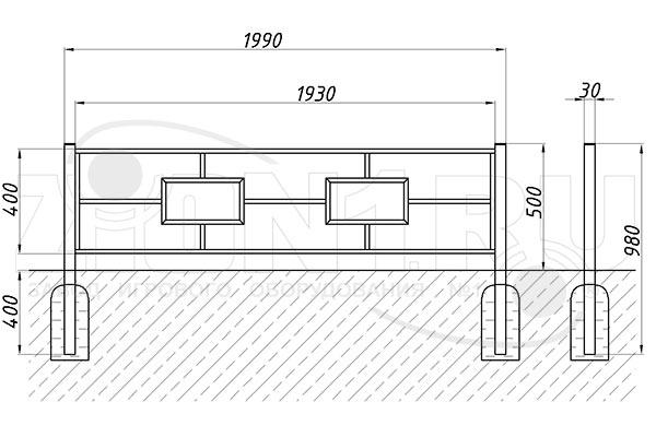 Схема монтажа газонного ограждения ОГ-17 эскиз