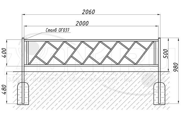 Схема монтажа газонного ограждения ОГ-35 эскиз