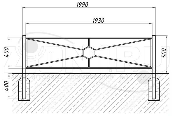 Газонное ограждение ОГ-9 схема монтажа эскиз