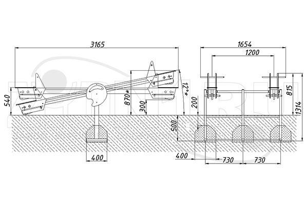 Схема монтажа качалки-балансир «Моряк 2» эскиз