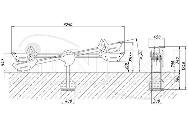 Схема монтажа качалки-балансира «Пилот» эскиз