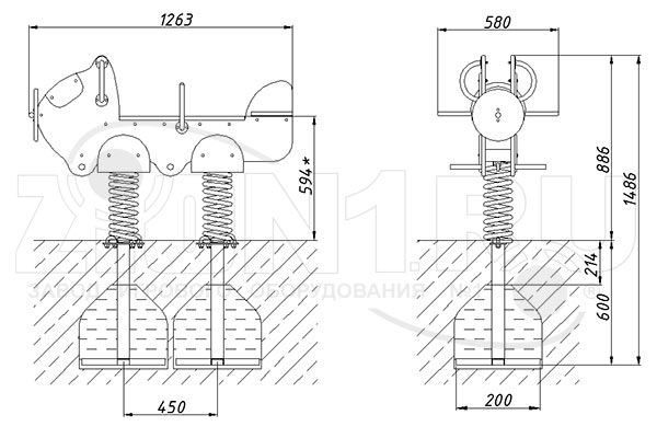 Схема монтажа качалки на пружине «Аэроплан» эскиз