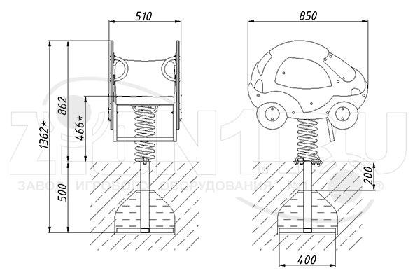 Схема монтажа качалки на пружине «Автомобиль» эскиз