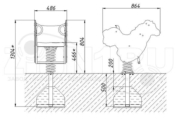 Схема монтажа качалки на пружине «Лошадка» эскиз