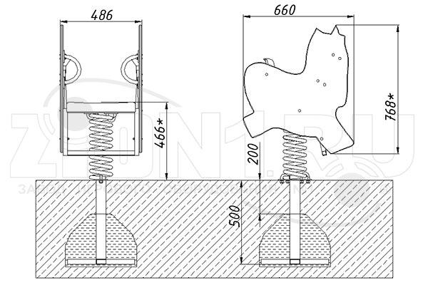 Схема монтажа качалки на пружине «Зебра» эскиз