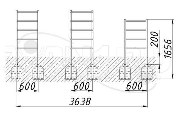 Схема монтажа 2 комплекта лазов «Месяц-1» эскиз