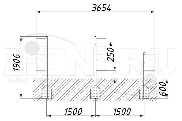 Схема монтажа 1 комплекта лазов «Месяц-1» эскиз