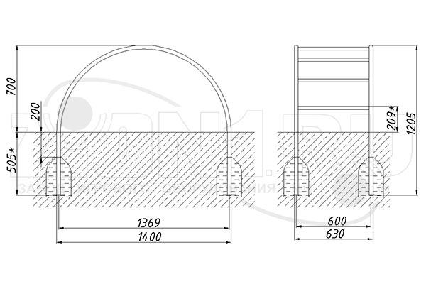 Схема монтажа лаза «Лиана малая» эскиз