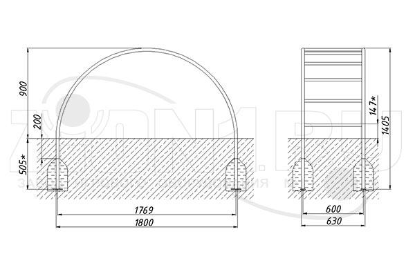 Схема монтажа лаза «Лиана средняя» эскиз