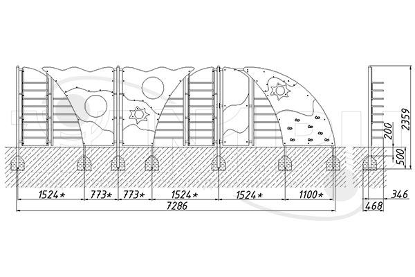 Схема монтажа лаза «Пейзаж» эскиз