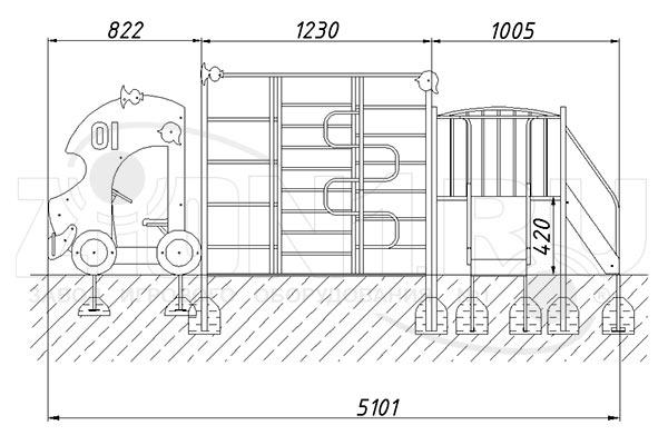 Схема монтажа 1 макета-комплекса «Пожарная машина» эскиз