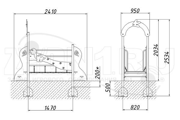 Схема монтажа моста подвесного «Динозаврик», эскиз