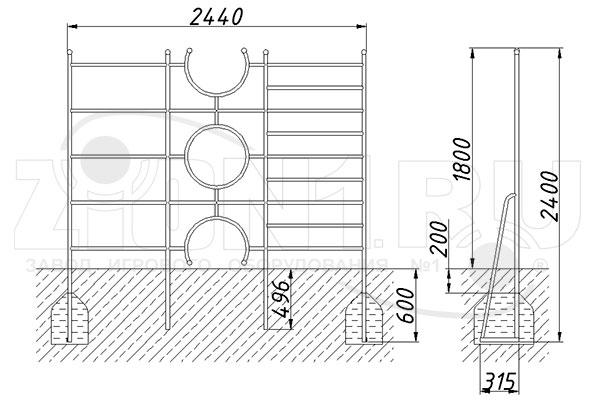 Схема монтажа шведской стенки «Малыш» эскиз