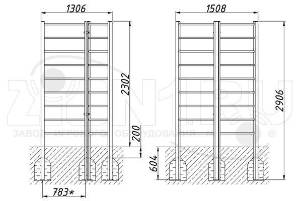 Схема монтажа шведской стенки «Вектор» эскиз