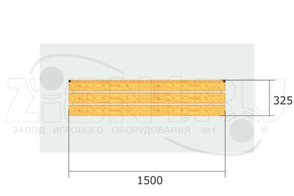 Скамья для раздевалок СВ2 вид сверху эскиз