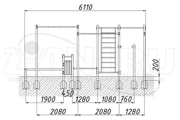 Схема монтажа 2 спортивного комплекса «СГК-10» эскиз