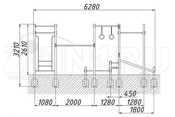 Схема монтажа 1 спортивного комплекса «СГК-10» эскиз