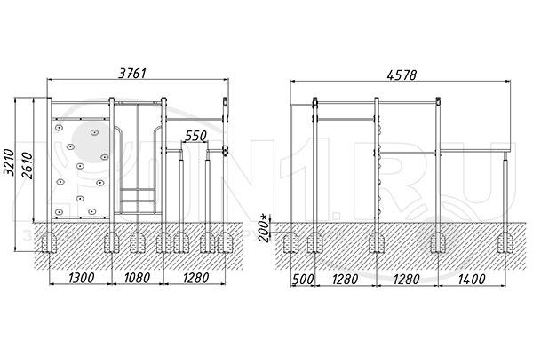 Схема монтажа спортивного комплекса «СГК-11» эскиз