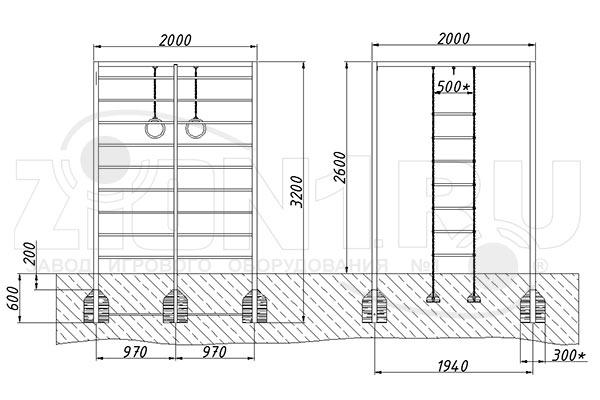 Схема монтажа спортивного комплекса «СГК-15» эскиз