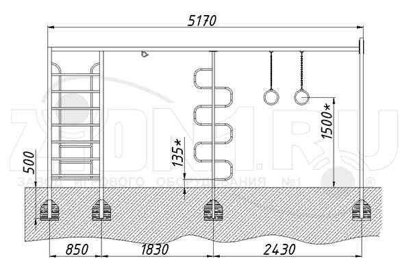 Схема монтажа 1 спортивного комплекса «СГК-1» эскиз