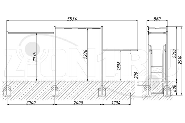 Схема монтажа спортивного комплекса «СГК-3» эскиз