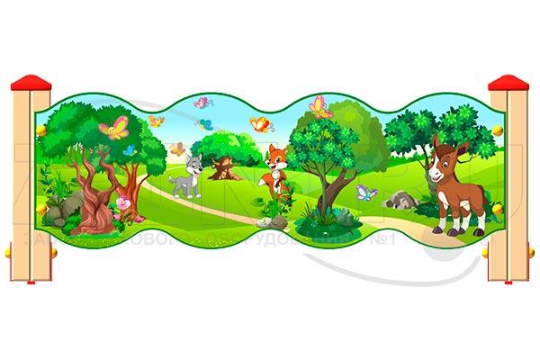 Ограждение детской площадки «Лесной мир У1», превью