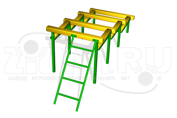 Элемент полосы препятствий «Разрушенная лестница» превью