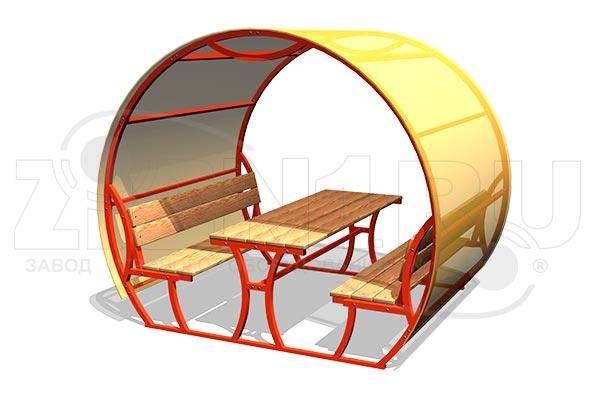 Стол со скамьями и навесом М2, превью