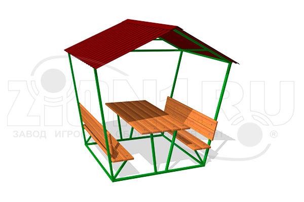 Стол уличный со скамьями и навесом превью