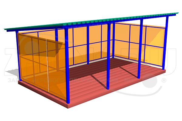 Теневой навес (прогулочная веранда) ТНПО 3.6 для детских площадок из металла и поликарбоната превью