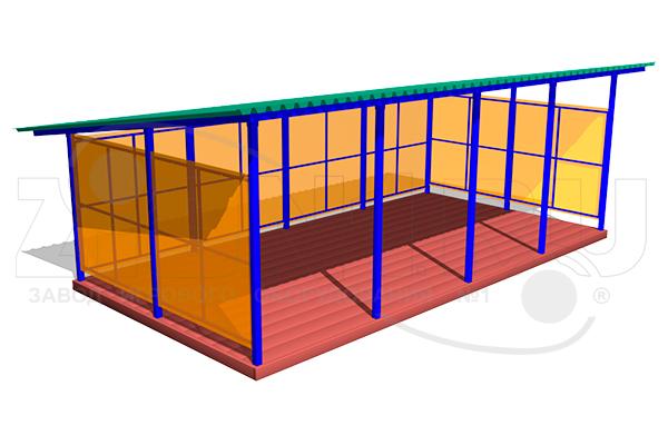 Теневой навес ТНПО 4.8 для детских площадок из металла и поликарбоната превью