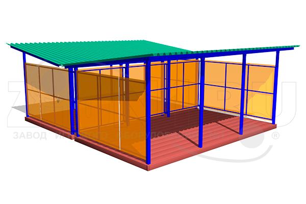Двойной теневой навес ТНПД 7.6 для детских площадок из металла и поликарбоната превью