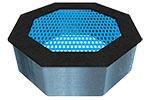 Вид синего батута уличного «Восьмиугольник», превью