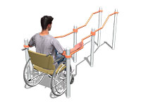 3409)Брусья двойные разноуровневые с подъемом для коляски