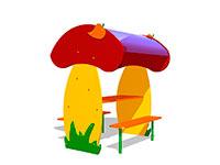 250)Детский столик с навесом «Грибник»
