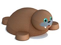 3436)Уличная объемная фигура из резиновой крошки «Морж»