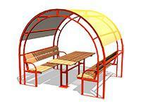 3470)Стол со скамьями и навесом М1