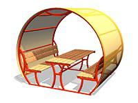 3471)Стол со скамьями и навесом М2