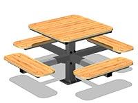 3577)Стол уличный со скамьями М3