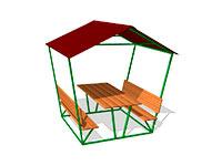 236)Стол уличный со скамьями и навесом